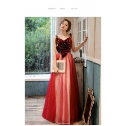 A Line Floor Length Red Tulle Velvet Evening Dress Spaghetti Straps Lace Up Party Dress With Bowknot