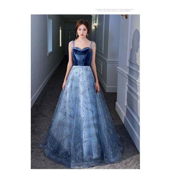 Gorgeous Sweep/Brush Train Blue Velvet Tulle Evening Dress Lace-up Sequined Sparkle & Shine Spaghetti Straps Bridesmaid Dress New Arrival