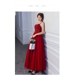 A-line Ankle-length Red Tulle Enggement Dress Spaghetti Straps Lace-up Evening Dress With Sequines New Arrival