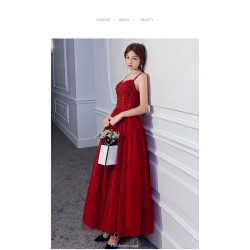 A Line Ankle Length Red Tulle Enggement Dress Spaghetti Straps Lace Up Evening Dress With Sequines