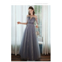 A-line Floor-length Lavender Tulle Starry Skirt Illusion-neck Lace-up Evening Dress With Sequines