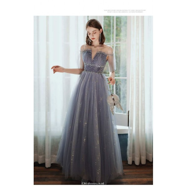 A-line Floor-length Lavender Tulle Starry Skirt Illusion-neck Lace-up Evening Dress With Sequines New Arrival
