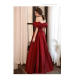 Noble Floor-length Red Satin Evening Dress Off The Shoulder Lotus leaf edge Lace-up Ball Gown New Arrival