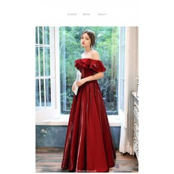 Noble Floor-length Red Satin Evening Dress Off The Shoulder Lotus leaf edge Lace-up Ball Gown