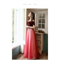 Romantic Floor Length Tulle Velvet Evening Dress Off The Shoulder Lace Up Party Dress With Sequines