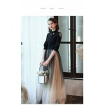 Contemporary Floor-length Black Tulle Spandex Party Dress Fashion Collar Half Sleeves Invisible Zipper Evening Dress New Arrival