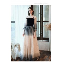 Noble Floor-length Starry skirt Off The Shoulder Invisible Zipper Tulle Evening Dress With Sequines