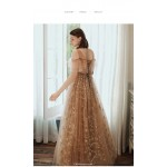 Noble Floor-length Champagne Tulle Starry Skirt Illusion-neck Lace-up Evening Dress New Arrival