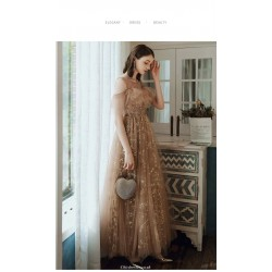 Noble Floor Length Champagne Tulle Starry Skirt Illusion Neck Lace Up Evening Dress