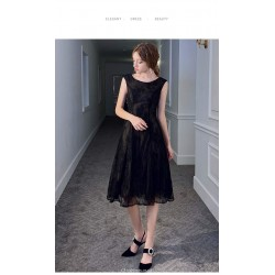 A-line Medium and Long-style Little Black Dress Scoop-neck V-neck Lace Party Dress