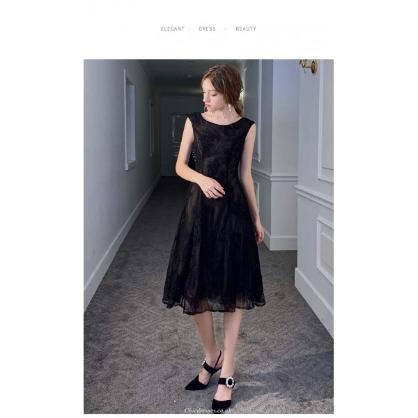 A-line Medium and Long-style Little Black Dress Scoop-neck V-neck Lace Party Dress New Arrival