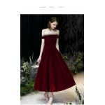 Fashion Medium and Long-style Burgundy Party Dress Off The Shoulder Lace-up Prom Ball Gown New Arrival