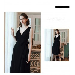 Fashion Medium And Long Style Little Black Dress Asymmetrical Shoulder Strap V Neck Evening Dress With Sashes