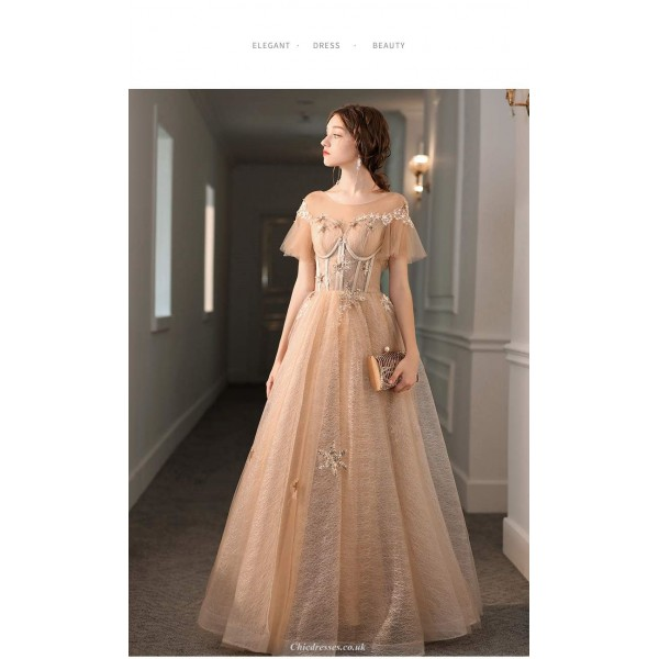 A-line Floor-length Champagne Tulle Lace Evening Dress Illusion-neck Lace-up Party Dress With Lace/Sequines New Arrival