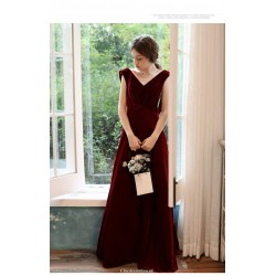 Fashion Floor-length Burgundy Velvet Evening Dress V-neck Cowl Back Party Dress