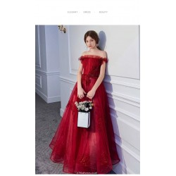 A-line Floor-length Red Tulle Lace Evening Dress Off The Shoulder Lace-up Engagement Dress With Sequines