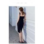 Sheath/Column Short Black Semi Formal Dress Queen Anne-neck Zipper Back Party Dress With Slit New Arrival
