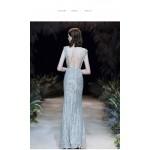 Mermaid/Trumpet Floor-length Sequined Sparkle & Shine Blue Prom Dress Deep V-neck Low Back Cocktail Dress