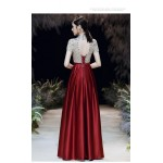 Gorgeous Floor-length Red Satin Party/Cocktail Dress Hig-neck Hollow Back Short Sleeves Prom Dress With Beading New Arrival