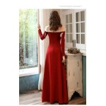 A-line Floor-length Red Satin Engagement Dress Long Sleeves Lace-neck Zipper Back Evening Dress New Arrival