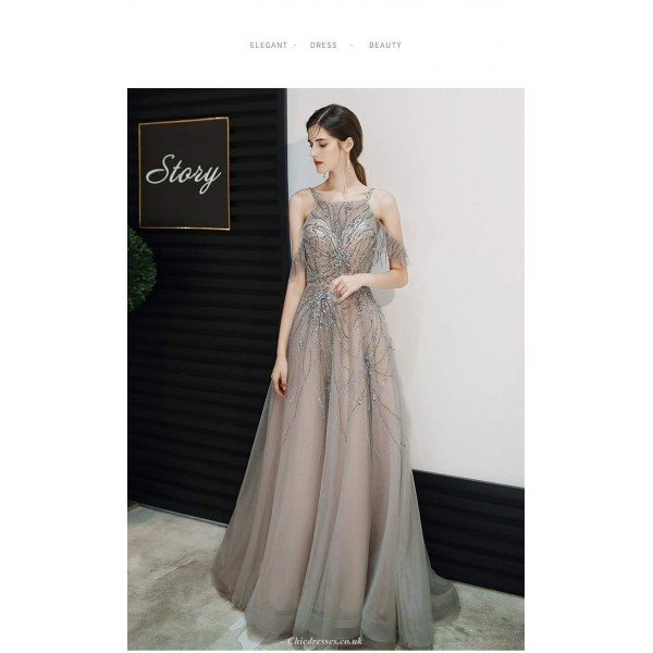 Noble Sweep/Brush Train Gray Tulle Rrom Dress Squaghetti-neck Backless Lace-up Party Dress With Sequines New Arrival