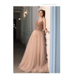 Brilliant Spaghetti Straps Blushing Pink Tulle Bridesmaid Dress Fashion V-neck Lace-up Party Dress With Three-dimensional Flower/Sequines New Arrival