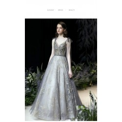 Dreamy Elegance Sweep/Brush Train V-neck Lace-up Blue Gray Evening Dress With Sequines