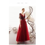 Classic Ankle-length Red Tulle Evening Dress Deep Illusion V-neck Fashion Lace-up Engagement Dress With Sequines New Arrival