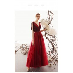 Classic Ankle-length Red Tulle Evening Dress Deep Illusion V-neck Fashion Lace-up Engagement Dress With Sequines