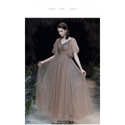 Brilliant Floor-length Light Brown Tulle Evening Dress Fashion Short Sleeve V-neck With Sequines Dress