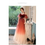 Noble Floor-length Tulle Velvet Ecening Dress OFF The Shoulder Spaghetti Straps Lace-up Party Dress With Appliques/Sequines New Arrival