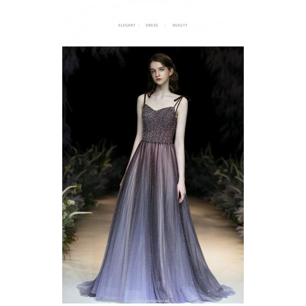 Gorgeous Sequined Sparkle & Shine Blue Purple Prom Dress Fashion Sling With Wear Mesh Shoulder Belt Lace-up Party Dress New Arrival