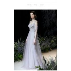 Mermaid Trumpet Fish Tail Gray Chiffon Prom Dress Fashion Crystal Tube Lace Up Party Dress With Beading