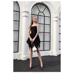 Sexy Short Mini Square Nack Black Feather Cocktail Party Dress