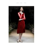 Fashion Medium-length Red Velvet Party Dress Square-neck Long Lace Back With Ribbons Cocktail Dress New Arrival