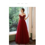 A-line Floor-length Burgundy Tulle Cocktail Dress Off The Shoulder Lace-up Prom Dress With Sequines New Arrival