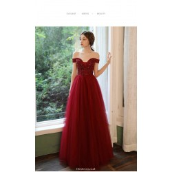 A-line Floor-length Burgundy Tulle Cocktail Dress Off The Shoulder Lace-up Prom Dress With Sequines