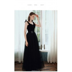 Noble Floor Length Queen Anne Black Chiffon Party Cocktail Dress