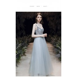 Noble Temperament Floor-length Grey-blue Color Prom Dress With Cloak/Sequines