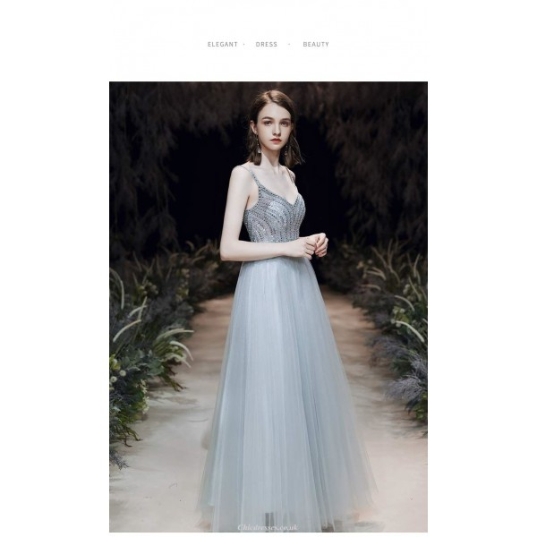 Noble Temperament Floor-length Grey-blue Color Prom Dress With Cloak/Sequines New Arrival