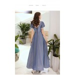 Contemporary Ankle-length Blue Prom Dress Illusion-neck Lace-up Short Puff Sleeve Party Dress With Sequines New Arrival