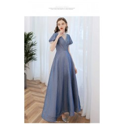 Contemporary Ankle-length Blue Prom Dress Illusion-neck Lace-up Short Puff Sleeve Party Dress With Sequines