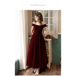 Simple Ankle Length Off The Shoulder Lace Up Burgundy Velvet Party Cocktail Dress