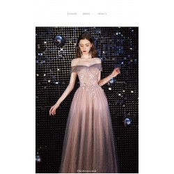 Gorgeous Floor length Tulle Starry Skirt Off The Shoulder Lace up Prom Dress With Appliques