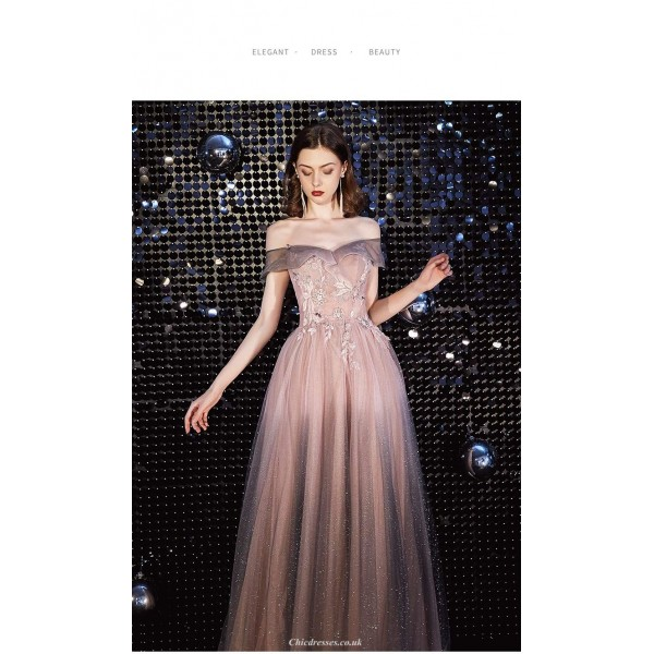Gorgeous Floor-length Tulle Starry Skirt Off The Shoulder Lace-up Prom Dress With Appliques New Arrival