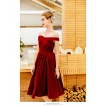 A-line Knee-length Red Velvet Party Dress Strapless With Ruching Zipper Back Engagement Dress New Arrival