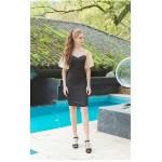 Sheath/Column Knee-length Little Black Dress Queen Anne Zipper Back Lace Short Sleeves Cocktail/Party Dress New Arrival