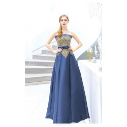 Brilliant Floor-length Blue Satin Ball Gown Strapless Lace-up Evening Dress With Appliques