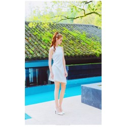 Elegant Short Boat Neck Zipper Back White Chiffon Party Dress