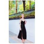 Sexy Medium-length Little Black Dress Spaghetti Spraps Chiffon Party With Side Slit New Arrival